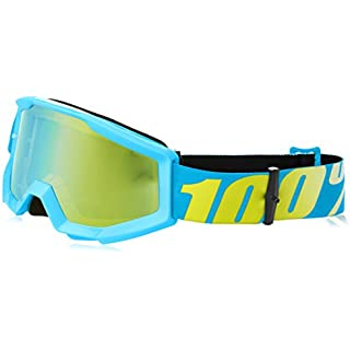 Sale Off 100% Unisex-Adult Strata Junior MX Motocross Goggles (Mirror Blue/Blue One Size Fits Most) 50510-012-02
