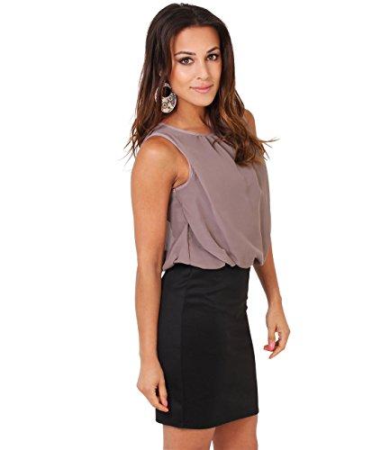 Krisp vestido de mujer gasa Stretch Mini vestido Contraste Colores moca