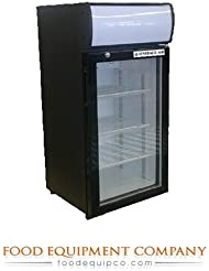 Beverage-Air CTR3-1-B-LED One Section Countertop Reach-In Display Refrigerator with 1 Swing Glass Door 3 cu.ft. Capacity Black Exterior and Top Mounted