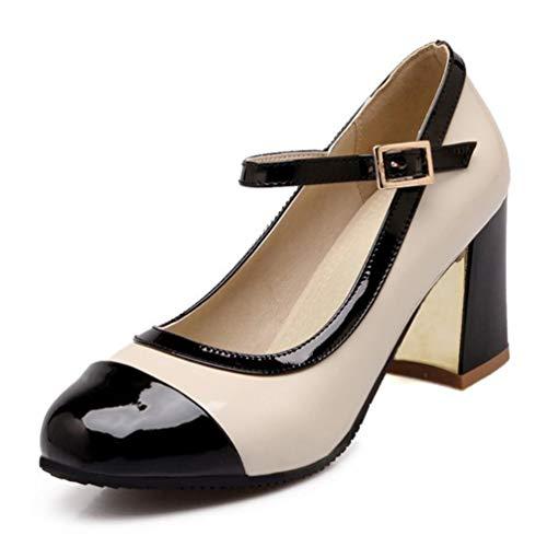 Femmes pais Bureau Hauts Noir Ronde Talons Parti Chaussures Cheville Sangle Pompes Les Mixte Couleur RwFqanxa