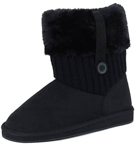 Shoes8teen Shoes 18 Womens Rib Knit Sweater Crochet Boots 5 Colors Available 91004 Black DGO8xeGOa