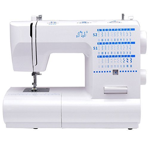 Costway Sewing Machine Heavy Duty Adjustable with 66 Built-in Stitched Double Needles Automatic Threading Portable Crafting Mending Machine