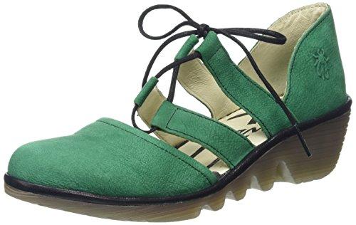 Fly London Poma - Zapatos de cuña para mujer Verde (Taupe Nubuck/Mushroom)