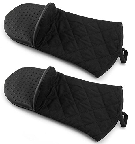 (Bekith Oven Mitt with Non-Slip Silicone Grip, Heat Resistant Oven Gloves to 500° F, 2-Pack (Black))