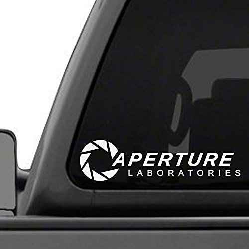 "Aperture Laboratories - 8.5"" long white vinyl decal - 6 year life"