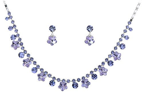 (Alilang Womens Swarovski Crystal Purple Hibiscus Flower Drop Earring Necklace Statement Jewelry Set)