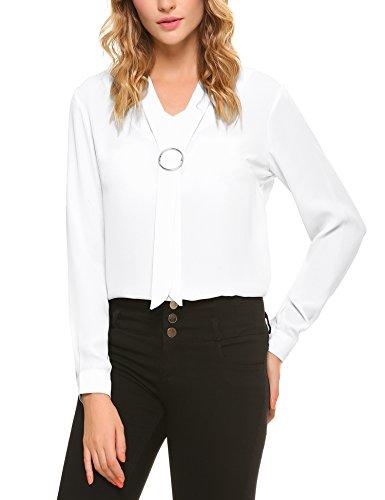 iClosam Women Casual Bow Tie Chiffon V-Neck Cuffed Sleeve Blouse Tops (Medium, White)