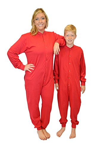 42074b815 Red Union Suit Men & Women Onesie Pajamas With Funny Butt Flap Danger  Blasting Area