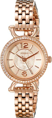 Fossil Women's ES3894 Rose Gold-Tone Stainless Steel Watch with Crystal Bezel