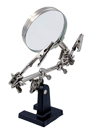 Designed for Soldering Zega Crafts Helping Hand Magnifier Adjustable 4X Magnifying Glass on Metal Base with 2 Adjustable Alligator Clips Crafting and Small Precision Projects