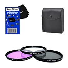 67mm Multi-Coated professional 3 Piece Lens Filter Kit (UV-CPL-FLD) For The Pentax 90mm f/2.8 D FA 645 Macro ED AW SR Lens with HeroFiber Ultra Gentle Cleaning Cloth