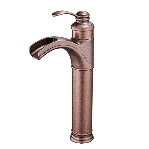 Bathroom Sink Vessel Faucet Antique Brass Bronze Single Handle Lever Hole (Brass Copper Waterfall)