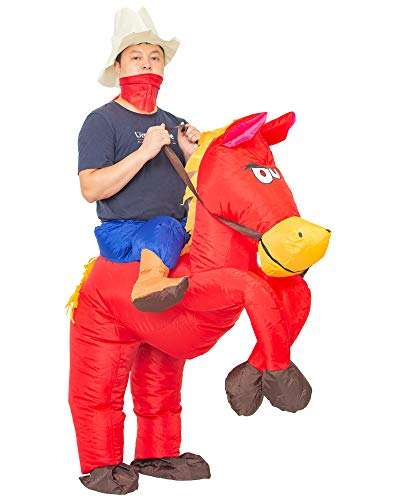 Inflatable Cowboy Costume Western Red Horse Fancy Dress for Men Women Halloween Party Suit (Adult Red)]()