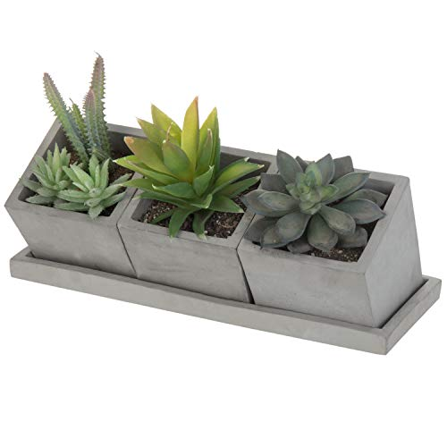 MyGift Set of 3 Modern Square Gray Cement Pots with Removable Tray ()