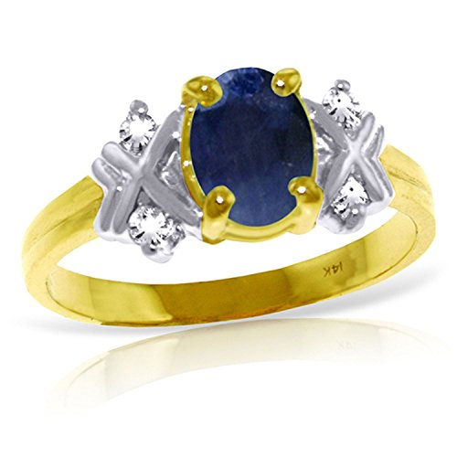 ALARRI 1.47 Carat 14K Solid Gold Love Lessons Sapphire Diamond Ring With Ring Size 6 by ALARRI