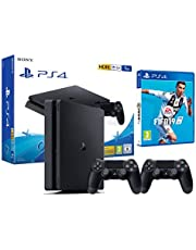PS4 Slim 1To Console Playstation 4 Noir + FIFA 19 + 2 Manettes Dualshock PS4
