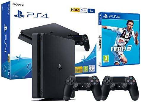 PS4 Slim 1Tb Negra Playstation 4 Consola + 2 Mandos Dualshock 4 + ...