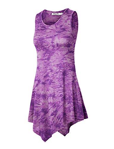 WT1065 Womens Sleeveless Tie-Dye Tunic Tank Top XXXL PURPLE]()