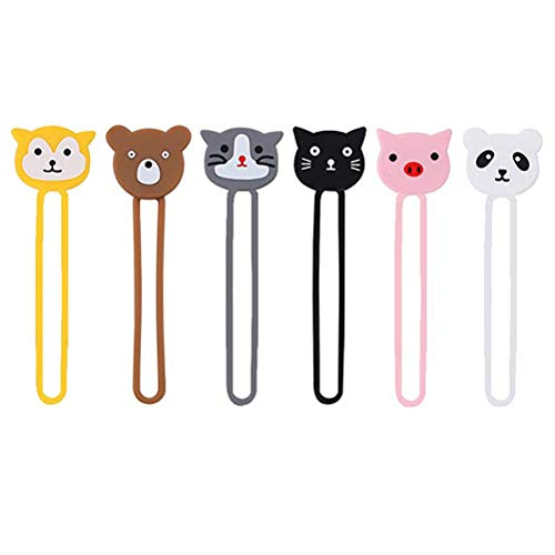 HEMOBLLO 6 Pcs Creative Silicone Mini Headphone Holder Cute Cartoon Animal Shape Cable Line Manager Simple Table Cable Manager (6 Style Mixed)