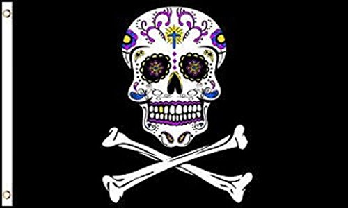 ALBATROS 3 ft x 5 ft Pirate Sugar Skull JR Flag Banner Brass Grommets Day of The Dead 100D for Home and Parades, Official Party, All Weather Indoors Outdoors