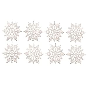 Plastic Snowflake Ornaments,4inch 36pcs Sparkling White Iridescent Glitter Snowflake Ornaments on String Hanger for Decorating, Crafting,wedding and Embellishing(White, 4 Inch) 12