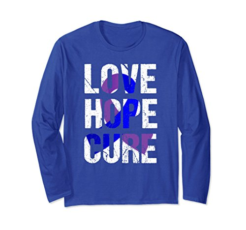 Unisex Arthritis Awareness Long Sleeve Shirt Arthritis Love Hope Large Royal Blue (Purple Ribbon Sleeve Long)