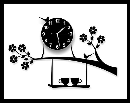 jb enterprise 3D Acrylic Tree Bird Coffee Cup on Jhula Design Wall Clock for Living Room, Bedroom Walls, Home and Office…