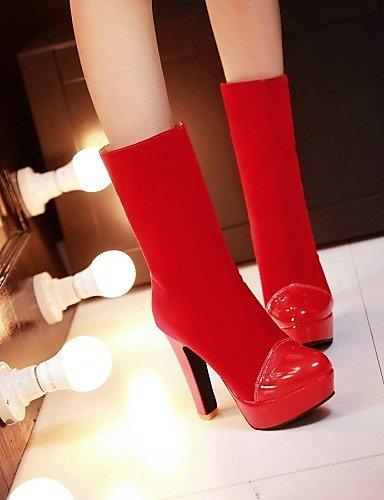 us10 Eu39 Cn43 Zapatos Rojo Azul Vestido Patentado Uk6 A Punta Uk8 De 5 5 5 negro Cuero Xzz Botas Red Tacón Eu42 Vellón Redonda Moda us8 5 Black La Robusto Cn40 Mujer HqfawdS