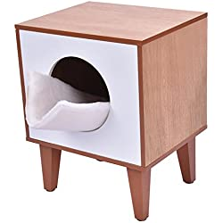 Wooden Cat Kitty Kittens Pet Box Litter Boxes Hidden Enclosure Cabinet Home Furniture Soft Flannelette Cushion Clean Bed Fits In The Corner Perfect Place For Cat To Relax And Sleep Indoor