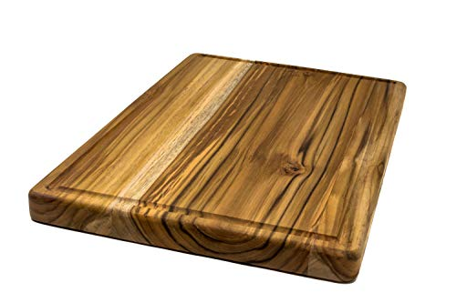 - Large Reversible Teak Wood Cutting Board with Juice Groove - Hardwood Chopping Block and Serving Tray (17x11x1 Inches)