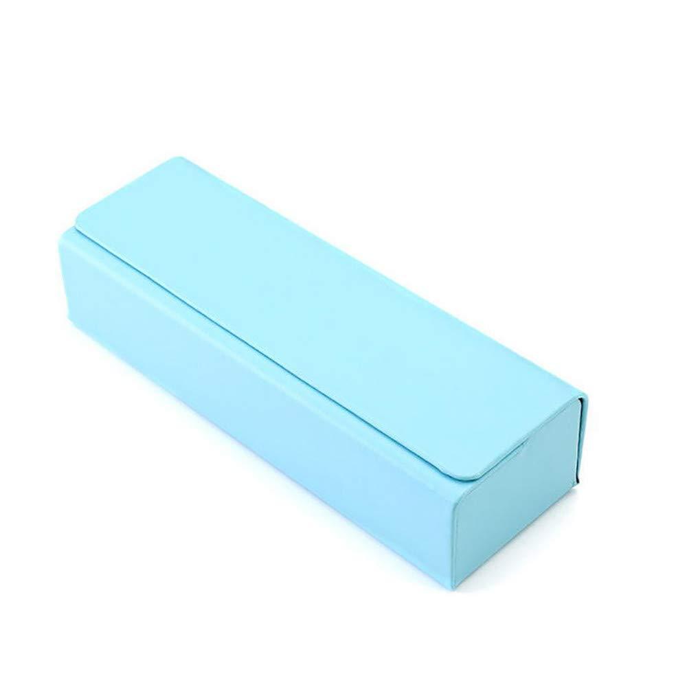 KCPer Eyeglasses Box, Stripe Square Glasses Box with Magnetic Cover Between Cortex Eyeglasses Box (Blue)