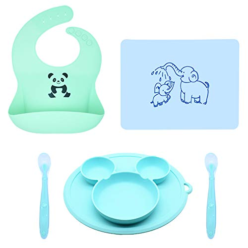 Baby Feeding Set Silicone Bib Plates Bowls Spoons with Food Pocket,Waterproof Bibs for Babies & Toddlers Girl and Boy,Silicone Bib/Plate/Mat/Spoons Set,Easily Wipe Clean BPA Free Great Baby Gift