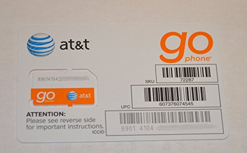Att At&t Go Sim Card for Gsm Prepaid Cell Phone Service-no Contract Required