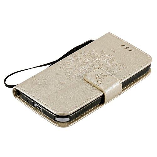 Carcasa Samsung Galaxy Core Prime G360, Funda Samsung Galaxy Core Prime G360, JAWSEU Samsung Galaxy Core Prime G360H Tapa Trasera Carcasa Diseño Empalme Cuero Billetera PU Leather Premium y Suave TPU  Árbol y gato, Oro