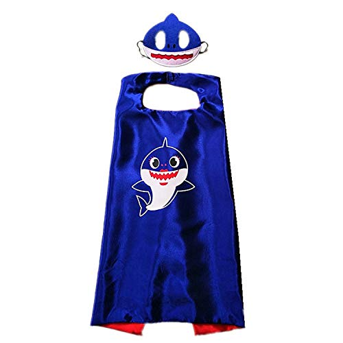 Cute Shark Cape and Mask for Girls Boys Baby Sharl Dress Up Party Favors (Blue (mask + Cloak)) ()