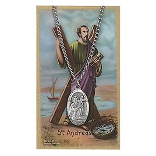 St. Andrew Pendant and Prayer Card Set, Includes a 24 in. chain and St. Andrew Prayer Card