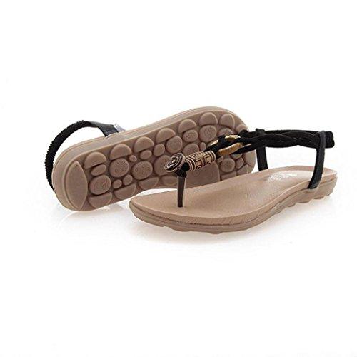 Sandalias de vestir, Ouneed ® Moda mujer verano Bohemia cuentas sandalias sandalias de Clip Negro