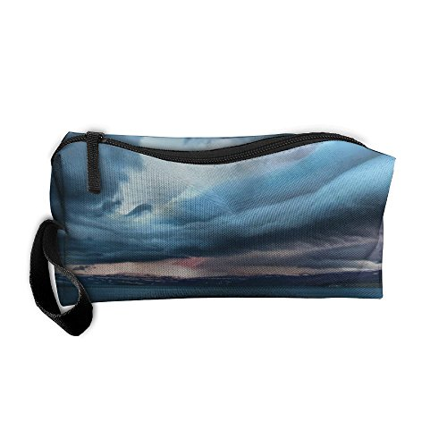 Women Girls Clouds Sky Beach Ocean Mountains Portable Buggy Bag Travel Makeup Clutch Bag Handle Toiletry Bag Multifunction Cosmetic Bags Brush Pouch Organizer Bag ()