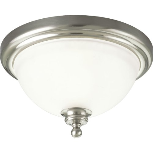 Progress Lighting P3311-09 1-Light Close-to-Ceiling Fixture with White Etched Glass, Brushed Nickel