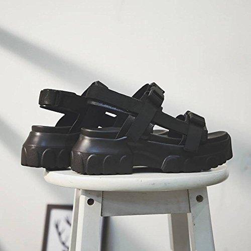 Grueso Muffin Kong Aumento Adulto Redonda Mujer Fondo Sandalias Plano Tacón Alto Hong Moda de Estudiantes Cabeza Wild Plataforma de Hebilla 8Cm Sandalias con de Sabor 6 Tacón Zapatos Goma Femeninas IqvwCCnaHF