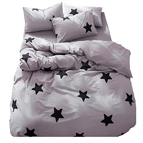 Kids Boys Cotton Grey Full Bedding Collection with Black Stars Print Premium Cotton Duvet Cover Set Queen for Children Girls Gift Zipper Reversible Grey Queen Bedding Duvet Cover