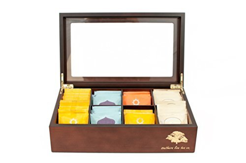 (Southern Live Tea Company Deluxe 8 Compartment Wooden Tea Box Chest (Mahogany) )