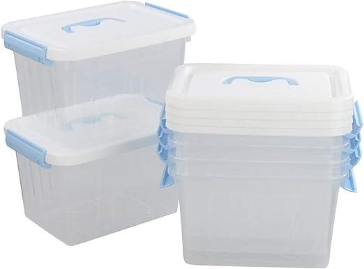 Hokky Caja de Almacenamiento con Blanco Tapa, Contenedor Plastico, Conjunto de 6: Amazon.es: Hogar