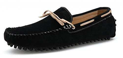 SUNROLAN 2018hei45 Men's Fashion Dress Casual Leather Flats Driving Moccasin Loafer Shoes Black US 11