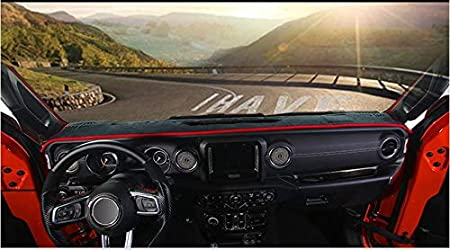 Nicebee Dash Board Sun Shade Mat Pad Cover Carpet Dashboard Cover Pad for Jeep Wrangler JL 2018+ Black+Red Line