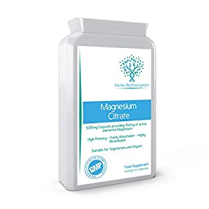 Magnesium Citrate 500mg 120 Capsules – Providing 150mg of Active Elemental Magnesium – High Potency – Easily Absorbable – Highly Bioavailable – UK Manufactured