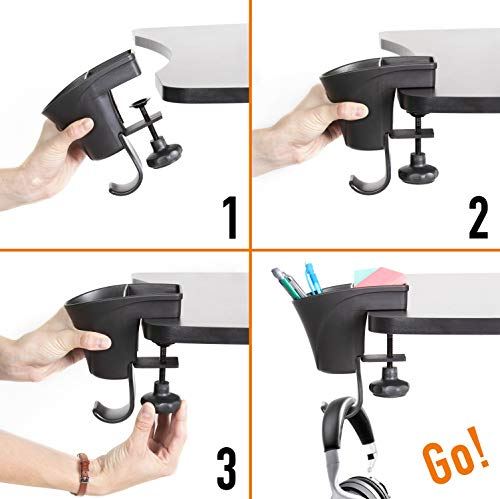Stand Steady Pen Cup - The 3-in-1 Clamp on Desk Organizer - Pen Holder with Headset/Bag Hanger - Free Up Desk Space – Organize Pencils, Markers, Paper Clips and More - No Drill Needed (Black)