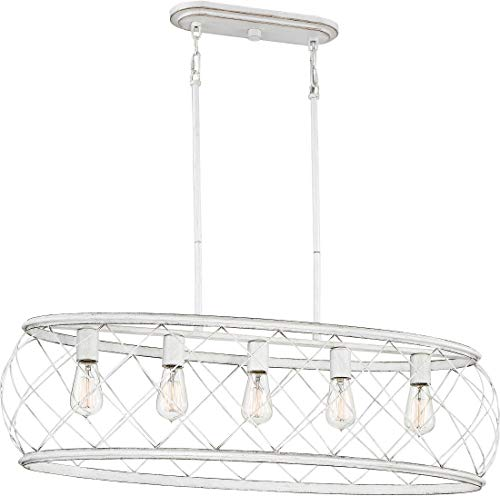 Quoizel RDY538AWH Dury Cage Island Chandelier, 5-Light, 500 Watts, Antique White (11