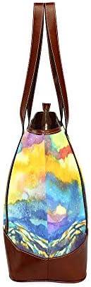 QIAOLII Abstrait Montagne Ciel Aquarelle Peinture Couleur Co Femmes Sacs Sacs À Main Fourre-Tout Grande Capacité Imprimé Dames Sac À Main Avec Fermeture Éclair Top-poignée
