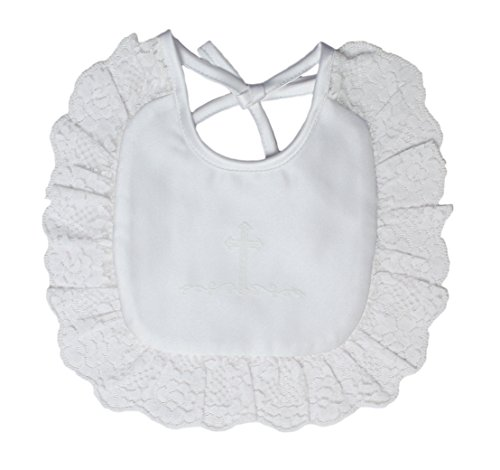Little Things Mean A Lot Girls Matte Satin Bib with Screened Cross and Lace
